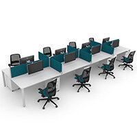 Switch 8 Person Bench Desk With Privacy Screens, Matching Under-Desk Pedestals & Chairs W 4x 1400mm x D 2x600mm