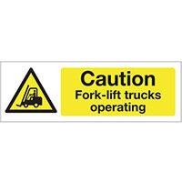 Sign Caution Fork-Lift Trucks 300x100 Aluminium