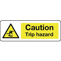 Sign Caution Trip Hazard 600x200 Aluminium