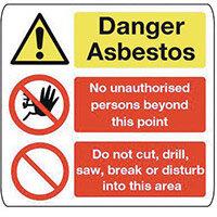 Sign Danger Asbestos 500X500 Aluminium Danger Asbestos No Unauthorised Persons, Do Not Cut Drill