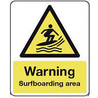 Sign Warning Surfboarding Area 300X100 Aluminium