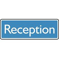 Sign Reception 200X75 Rigid Plastic White On Blue