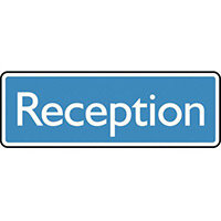 Sign Reception 450X150 Rigid Plastic White On Blue
