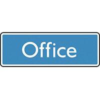 Sign Office 200X75 Rigid Plastic White On Blue