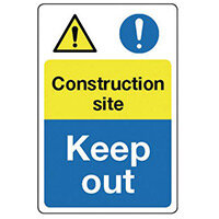 Sign Construction Site Keep Out 600x200 Rigid Plastic