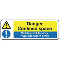Sign Danger Confined Space 300x100 Rigid Plastic