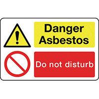 Sign Danger Asbestos 300X200 Rigid Plastic Asbestos Acm'S - Danger Asbestos Do Not Disturb