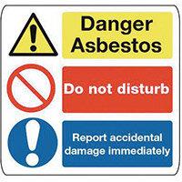 Sign Danger Asbestos 500X500 Rigid Plastic Danger Asbestos Do Not Disturb Report Accidental Damage Immediately