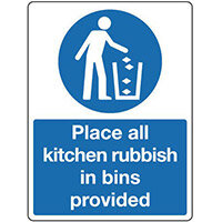 Sign Place All Kitchen Rubbish 150X200 Rigid Plastic