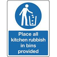 Sign Place All Kitchen Rubbish 300X100 Rigid Plastic