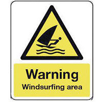 Sign Warning Windsurfing Area 300X100 Rigid Plastic