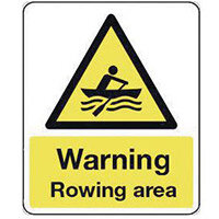 Sign Warning Rowing Area 300X100 Rigid Plastic