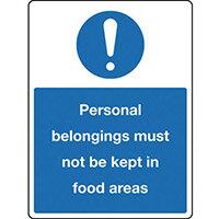 Sign Personal Belongings 300X100 Rigid Plastic Personal Belongings Must Not Be Kept In Food Areas
