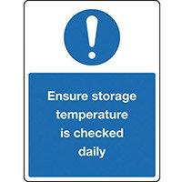 Sign Ensure Storage Temp 150x200 Rigid Plastic
