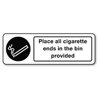 Sign Place All Cigarette Ends Rigid Plastic 600x200