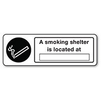Sign A Smoking Shelter Is Located Rigid Plastic 300x100