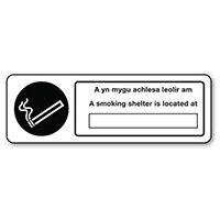 Sign A Smoking Shelter Rigid Plastic 600x200