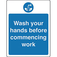 Sign Wash Your Hands Before Rigid Plastic 150x200