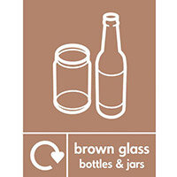 """Recycling Sign """"Brown Glass Bottles"""" Rigid Plastic 300x400mm"""
