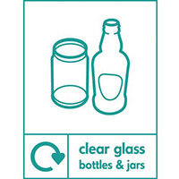 """Recycling Sign """"Clear Glass Bottles"""" Rigid Plastic 150x200mm"""