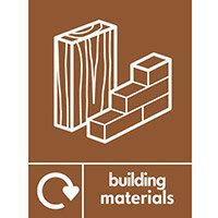 """Recycling Sign """"Building Materials"""" Rigid Plastic 150x200mm"""