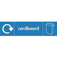 "Recycling Sign ""Cardboard"" Rigid Plastic 350x100mm"