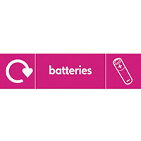 "Recycling Sign ""Batteries"" Rigid Plastic 350x100mm"