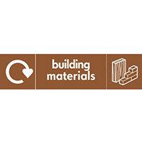"""Recycling Sign """"Building Materials"""" Rigid Plastic 500x200mm"""