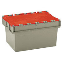 Container Attached Lid 54 Ltr Red Lid Grey Body
