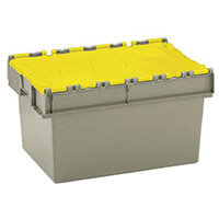 Container Attached Lid 54 Ltr Yellow Lid Grey Body