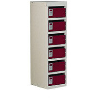 Locker Post Box Red Doors 240 Series Floor Mount 6 Box