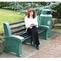 Bench Plastic 2 Seater Colour: Emerald