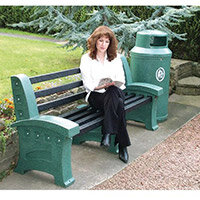 Bench Plastic 3 Seater Colour: Emerald