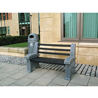 Bench Plastic 3 Seater Colour: Pale Granite