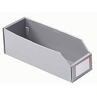 Twin Walled Small Part Storage Polypropylene Bins HxWxL 100x100x300mm Silver Grey Pack of 50