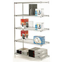 Olympic Chrome Wire Shelving System 1895mm High Add-On Unit WxD 914x356mm 5 Shelves & 2 Posts 350kg Shelf Capacity