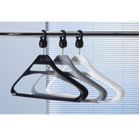 Coat Hangers Black Plastic & Captive Hooks Pack of 20