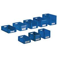 Xl Container 400x300x220 mm (Lxwxh). Solid Sides. Pick Open Front. Blue