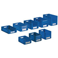 Xl Container 400x300x270 mm (Lxwxh). Solid Sides. Pick Open Front. Blue