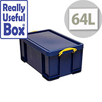 Really Useful Box 64L Solid Blue Polypropylene Box Solid Blue