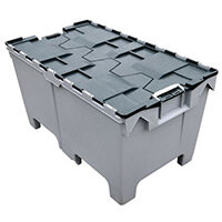 Attached Lid Container With Pallet Feet 1000X600mm