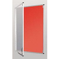 Standard Tamperproof Noticeboard Silver/Red Aluminium/Plastic/Fabric HxW mm: 900x600