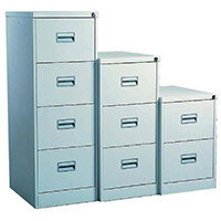 Filing Cabinet Midi Light Grey Steel HxWxD: 711x458x622mm 2 Filing Drawers