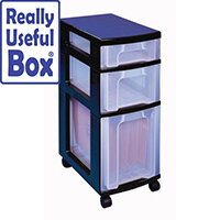 3 Drawer Unit With Castors Clear - Drawer Configuration: 1 x 7L, 1 x 12L, 1 x 25L