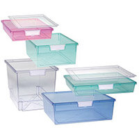 Tray  A4 Shallow Tinted Blue 77x312x425mm-Pack Of 26