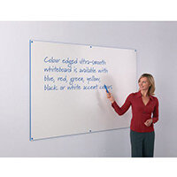 Blue Write-On Coloured Edged Whiteboard 1220x1520