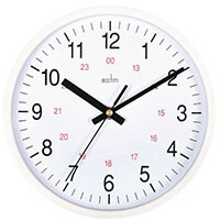 Metro 225mm White + Red 24Hr Track Wall Clock