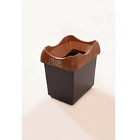 30 Litre Recycling Bin With Grey Body Brown Lid & Graphic