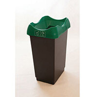 50 Litre Recycling Bin With Grey Body Green Lid & Graphic