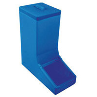 Table Top Dispense Bin With Clear Flap And Top Lid Allowing It To Be Filled From The Top Blue